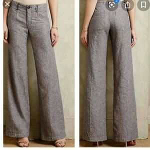 Anthropologie Herringbone Linen Pants 4